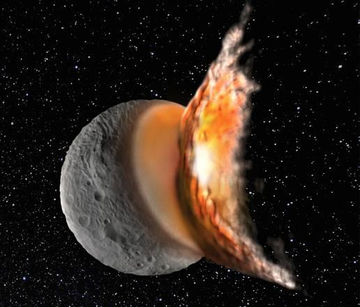 Rappresentazione artistica della collisione che ha generato il cratere gigante Rheasilvia, nel polo Sud di Vesta (fonte: Martin Jutzi)