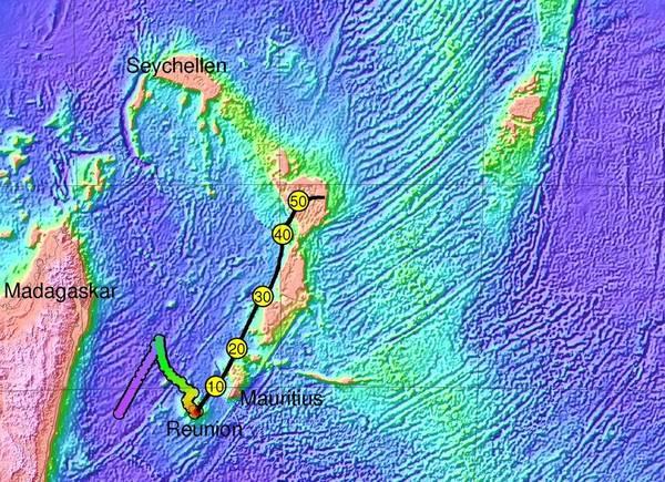 La posizione del continente perduto Mauritia, sotto le isole Reunion e Mauritius (fonte: Gfz)