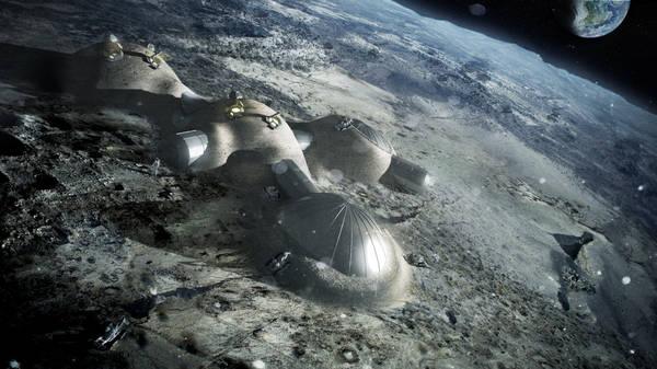 Il modello della base lunare vista dall'alto (fonte: ESA/Foster + Partners)