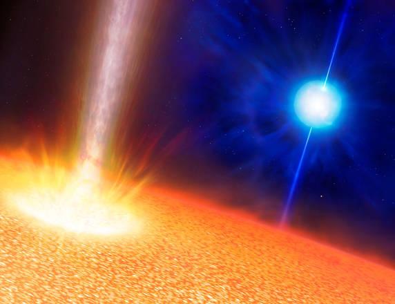 Rappresentazione artistica di un'esplosione di lampi gamma (fonte: Mark A. Garlick)