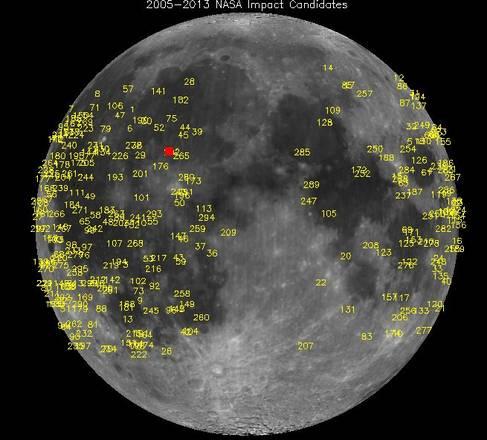 Più DI 300 meteoriti hanno colpito la Luna dal 2005 ad oggi. In rosso, l'impatto del 17 marzo scorso (fonte: Nasa)