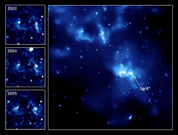 La regione Sgr A verso il centro galattico. Evidenziata la magnestar SgrA* (fonte: NASA's Chandra X-Rayservatory)