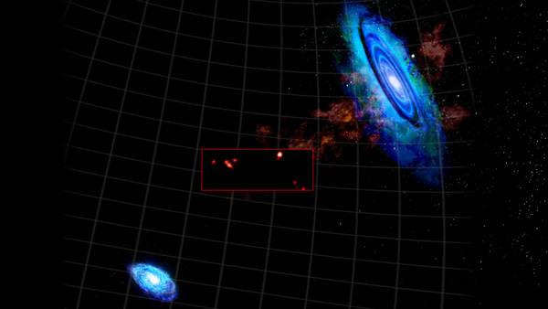 Rappresentazione artistica dei grappoli di nubi di gas scoperte fra le galassie di Andromeda e del Triangolo (fonte: Bill Saxton, NRAO/AUI/NSF)