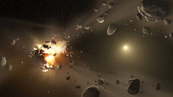 Rappresentazione artistica di collisioni fra asteroidi (fonte: NASA/JPL-Caltech)
