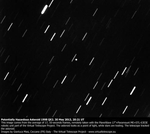 L'asteroide 1998 QE2 fotografato da Gianluca Masi (fonte: Gianluca Masi, Virtual Telescope, eee.virtualtelescope.eu)