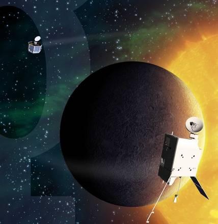 Rappresentazione artistica della missione europea BepiColombo diretta a Mercurio (fonte: EADS Astrium)