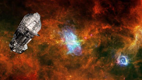 Rappresentazione artistica del telescopio europeo Herschelon la zona di formazione stellare Vela C (fonte: ESA/PACS & SPIRE Consortia, T. Hill, F. Motte, Laboratoire AIM Paris-Saclay, CEA/IRFU – CNRS/INSU – Uni. Paris Diderot, HOBYS Key Programme Cons