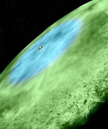 Rappresentazione artistica della neve scoperta intorno alla stella TW Hydrae, nella regione in blu vi è neve d'acqua, nella regione in verde vi è ghiaccio di monossido di carbonio (fonte: Bill Saxton and Alexandra Angelich, NRAO/AUI/NSF)