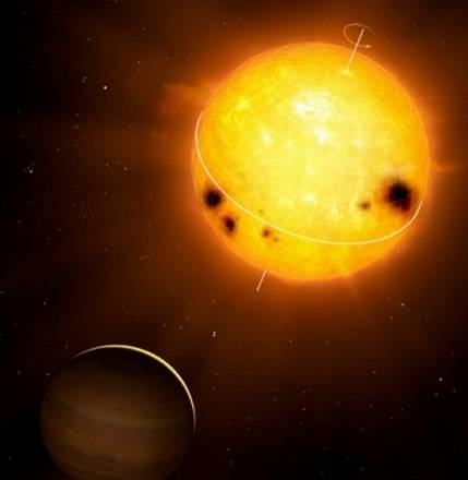 Rappresentanzione artistica della stella  HD 52265 e del suo pianeta gigante (fonte: MPI for Solar System Research/Mark A. Garlick, www.markgarlick.com)
