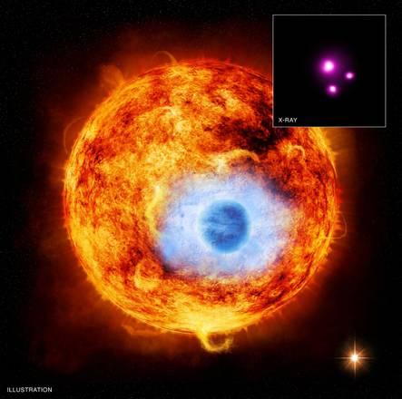 Rappresentazione artistica del pianeta mentre eclissa la sua stella; in alto a destra la foto ai raggi X (fonte: NASA/CXC/SAO/K.Poppenhaeger et al)