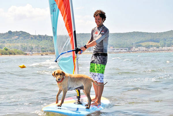 Al mare col proprio cane, anche al corso di wind-surf (Foto: Agriturismo.it)