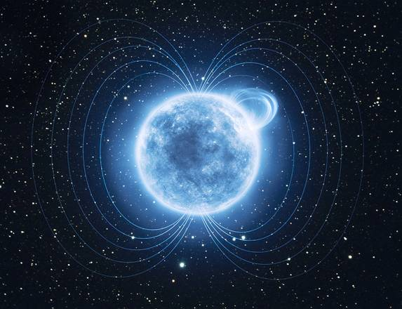 La magnetar SGR 0418+5729. In alto a destra la regione della stella che ha fatto registrate il campo magnetico più intenso dell'universo. Elaborazione grafica (fonte: ESA-ATG Medialab)