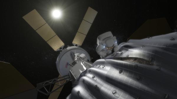 Rappresentazione di un astronauta che si prepara a prelevare i campioni dell'asteroide (fonte: NASA)