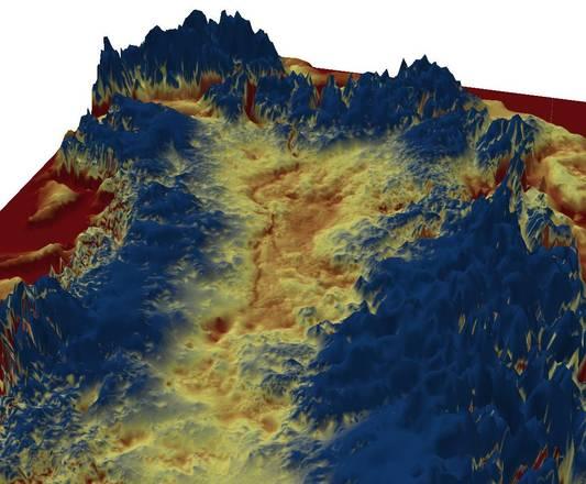 Ricostruzione grafica in 3D del canyon nascosto sotto i ghiacci della Groenlandia (fonte: J. Bamber, Università di Bristol)