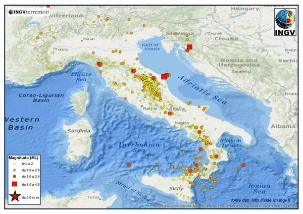 I terremoti registrati in Italia dal primo al 31 luglio 2013 (fonte: INGV)