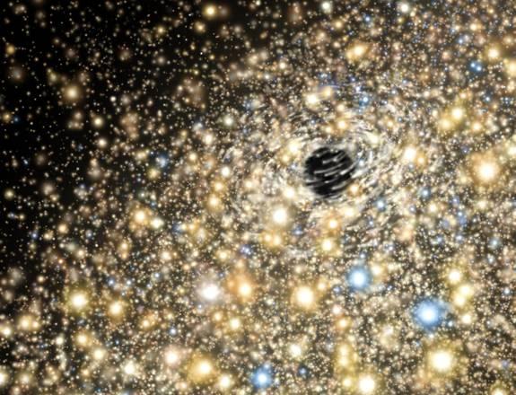 Rappresentazione artistica di stelle nelle regioni centrali di una galassia ellittica che ospita al centro un grandissimo buco nero (fonte: Gemini Observatory/AURA artwork by Lynette Cook)