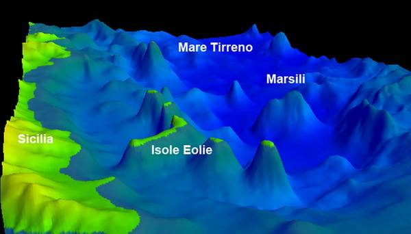 Localizzazione del vulcano sottomarino Marsili (fonte: Ismar-Cnr)