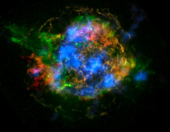 L'immagine della supernova  Cassiopeia A ripresa da Nustar. In blu le emissioni del Titanio 44 (fonte: Nature, Grefenstette e colleghi)