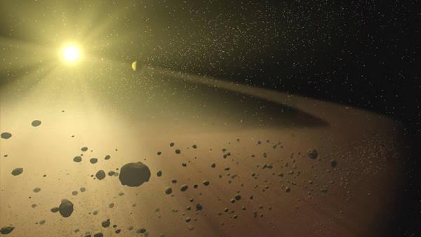 Rappresentazione artistica della fascia di asteroidi fra Marte e Giove (fonte: NASA/JPL-Caltech)