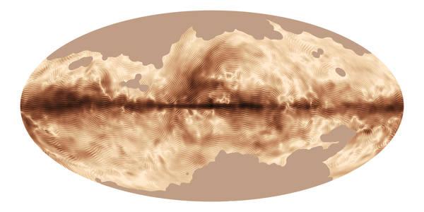 L'impronta del campo magnetico della Via Lattea (fonte: ESA and the Planck Collaboration)