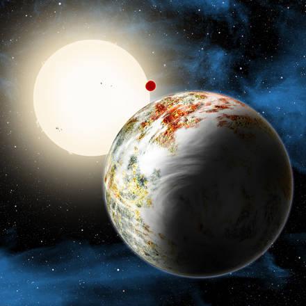 Rappresentazione artistica della Megaterra (fonte: Harvard-Smithsonian Center for Astrophysics/David Aguilar)