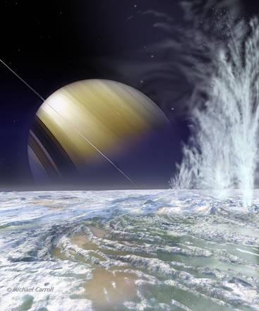 Scoperti 101 geyser sulla luna di Saturno Encelado, portano i superficie l'acqua dell'oceano nascosto sotto i ghiacci (fonte: NASA, Michael Carroll)