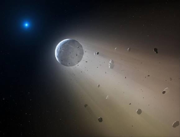 Ricostruzione artistica del piccolo pianeta roccioso distrutto dalla stella morente (fonte: Mark A. Garlick)