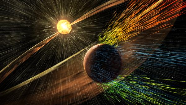 Rappresentazione artistica del vento solare che strappa via l'atmosfera di Marte (fonte: NASA/GSFC)