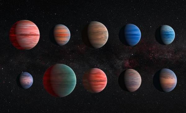 Rappresentazione artistica di dieci pianeti giganti  (fonte: ESA/Hubble & NASA)