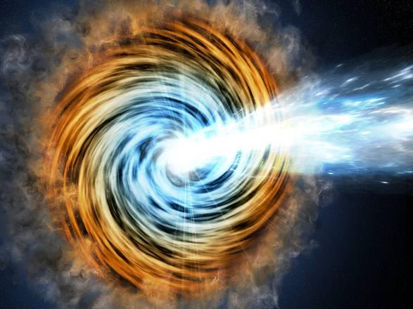 Rappresentazione artistica di un gigantesco buco nero attivo al centro di una galassia (fonte: M. Weiss/CfA)