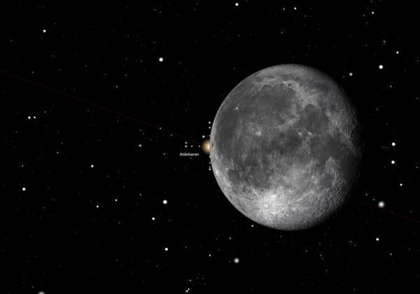 Ricostruzione dell'occultazione: Aldebaran scompare dietro il disco lunare (fonte: Gianluca Masi, The Virtual Telescope Project 2.0)