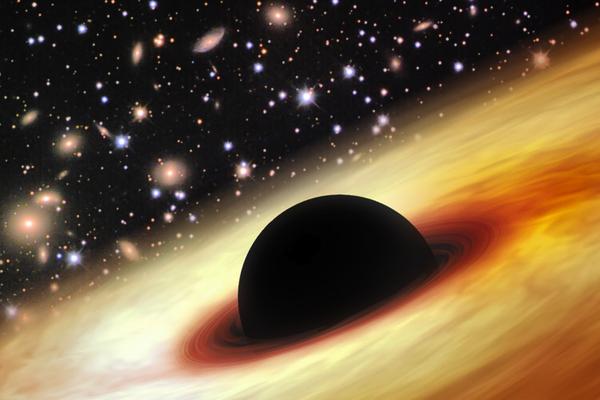 Rappresentazione artistica del quasar, al centro del quale si trova il misterioso buco nero (fonte: Zhaoyu Li, Shanghai Astronomical Observatory)