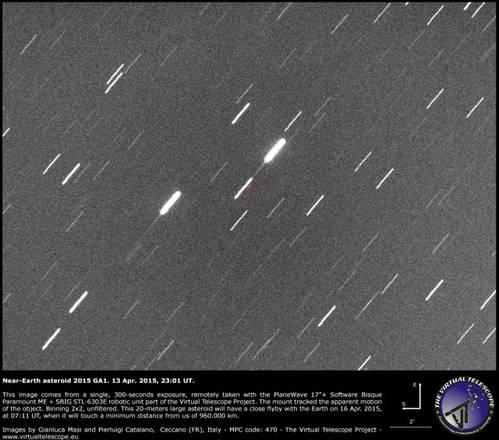 L'asteroide 2015 GA1 fotografato da Gianluca Masi (fonte: Gianluca Masi/ Virtual Telescope)