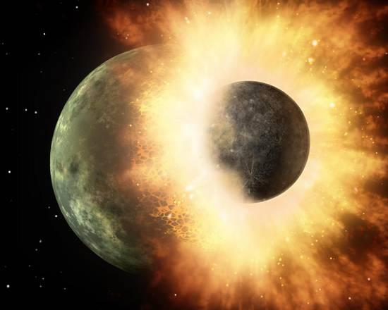 Rappresentazione artistica dell'impatto fra la Terra e la 'sorella' Theia, che ha generato la LUna (fonte: NASA/JPL-Caltech)