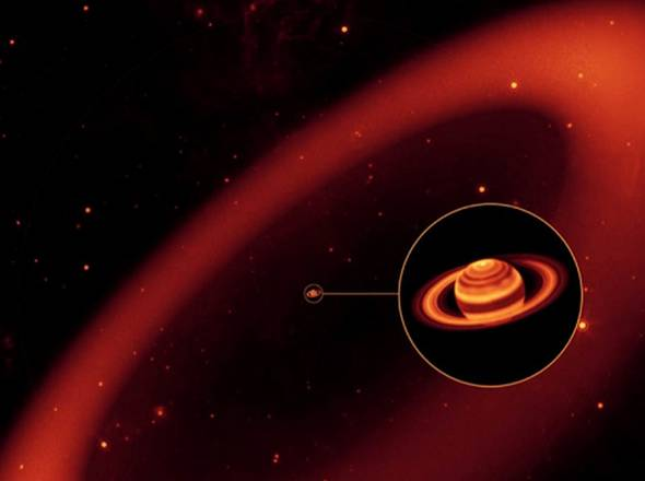 Rappresentazione artistica dell'anello fantasma di Saturno (fonte: NASA/JPL/Space Science Institute)