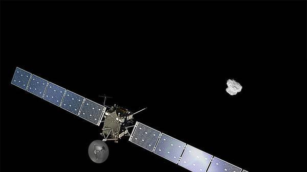 La missione Rosetta prolungata di 9 medi (fonte: per la sonda ESA/ATG medialab; per la cometa ESA/Rosetta/NAVCAM)
