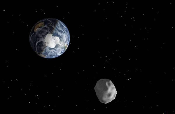 Rappresentazione artistica di un asteroide vicino alla Terra (fonte: NASA/JPL-Caltech)