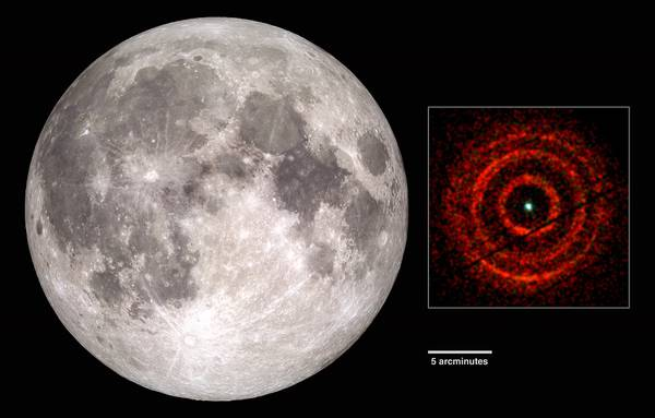 A destra il 'bersaglio' disegnato dai raggi X, con il buco nero al centro. Il suo diametro appare inferiore a quello della Luna (fonte: a sinistra NASA's Scientific Visualization Studio, Andrew Beardmore (Univ. of Leicester); a destra, NASA/Swift)