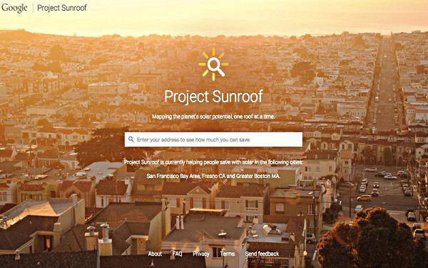 Il sito di Google Project Sunroof