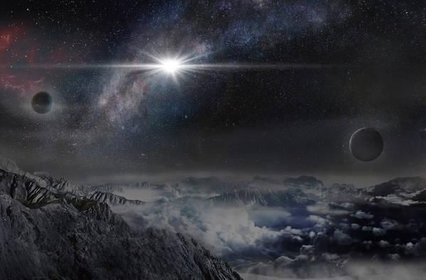 Rappresentazione artistica della supernova da record ASASSN-15lh, così come apparirebbe da un pianeta distante circa 10.000 anni luce (fonte: Beijing Planetarium / Jin Ma)