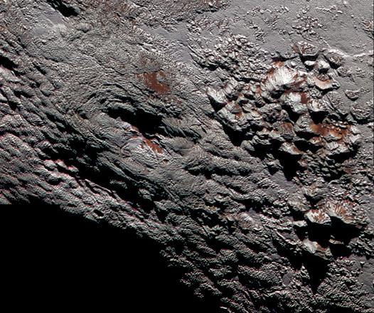 La struttura sulla superficie di Plutone che potrebbe essere un vulcano di ghiaccio   (fonte:  NASA/JHUAPL/SwRI)