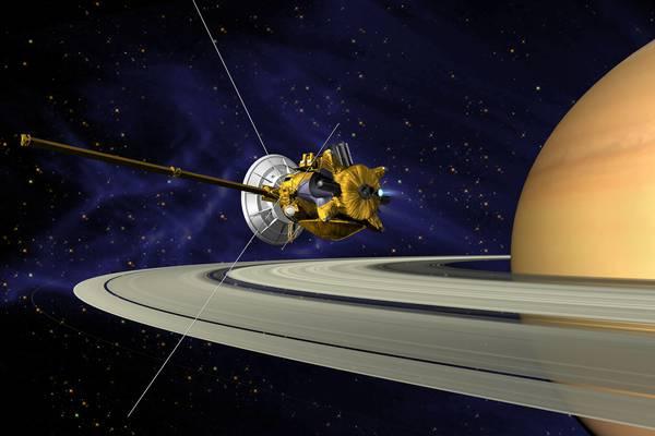 Rappresentazione grafica della sonda Cassini nell'orbita di Saturno (fonte: NASA/JPL)