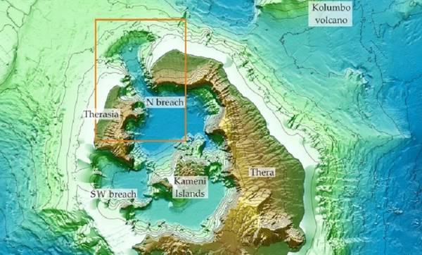 Ricostruita la storia dell'esplosione del vulcano di Santorini (fonte: Nomikou P., M. Paulatto, L.M. Kalnins and D. Lampridou)