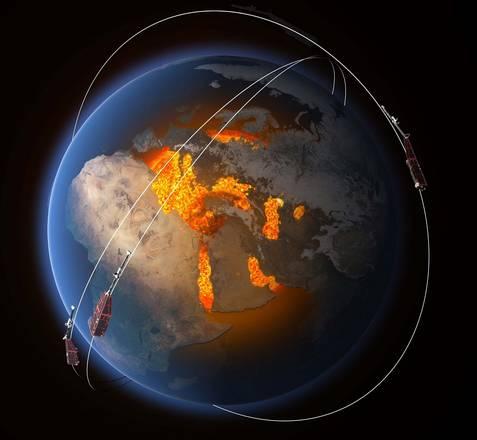 La costellazione di satelliti Swarm (fonte: ESA/ATG Media Lab)