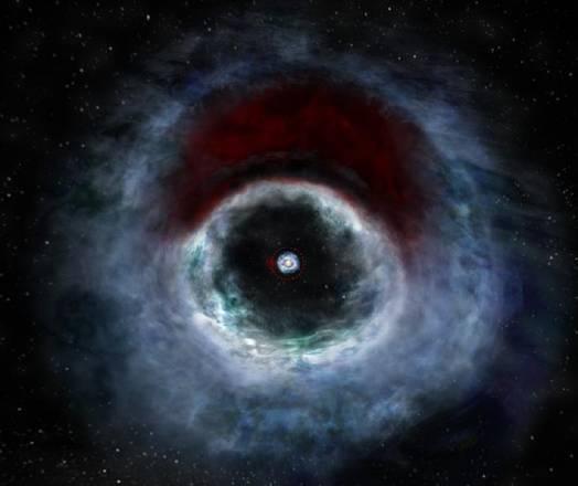 Rappresentazione artistica del sistema binario si stelle HD 142527 e del disco di polveri dal quale sta nascendo un sistema planetario (fonte: B. Saxton (NRAO/AUI/NSF)