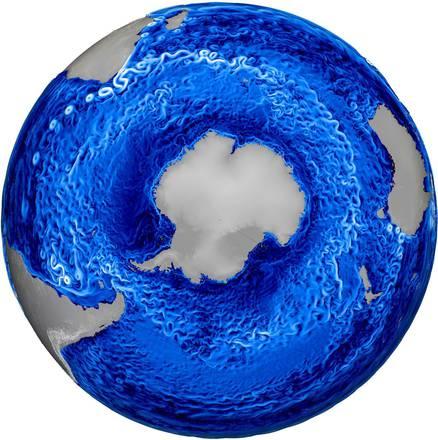 Rappresentazione grafica delle correnti oceaniche attorno all'Antartide (fonte: Los Alamos National Laboratory)
