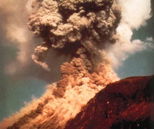 Ricostruzione artisticxa di un'eruzione vulcanica avvenuta in un ambiente a bassa gravità, come quello marziano (fonte: American Geophysical Union)