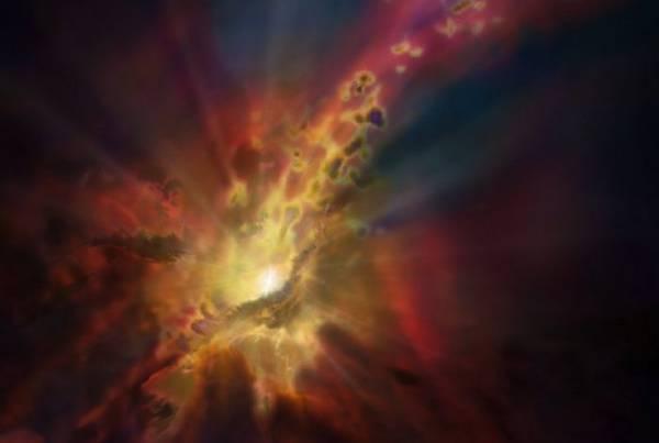 Rappresentazione artistica della pioggia intergalattica (fonte:  NRAO/AUI/NSF; Dana Berry/SkyWorks; ALMA, ESO/NAOJ/NRAO)