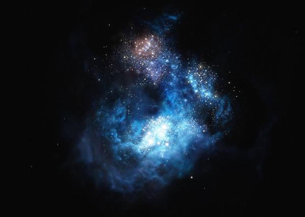 Rappresentazione artistica di CR7, l'antenato dei buchi neri (fonte: ESO/M. Kornmesser)