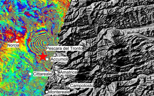 Terremoto, deformazione di 20 centimetri vista anche dai satelliti Sentinel